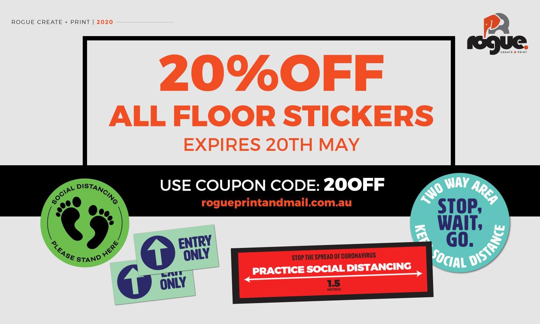 20off Social Distancing Floor Graphics Rogue Print Mail