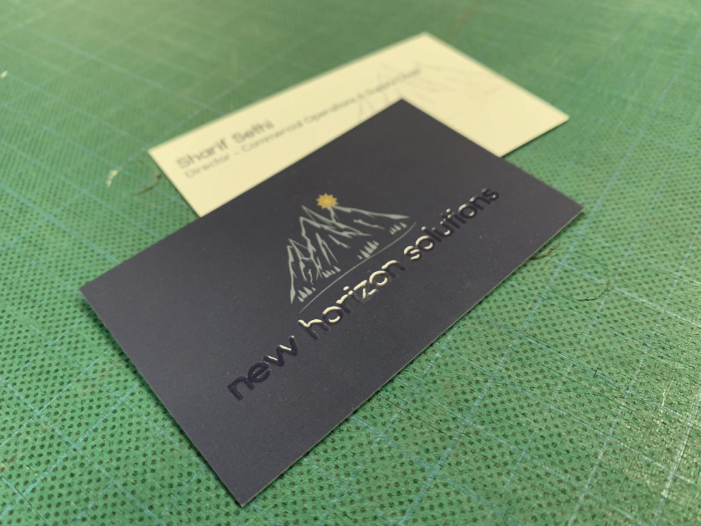 Business Card Printed On Silk Stock With Scodix Varnish New Horizon Solutions