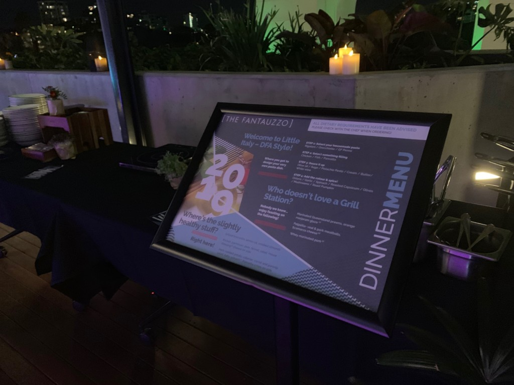 Menu design and print for Conference dinner stands