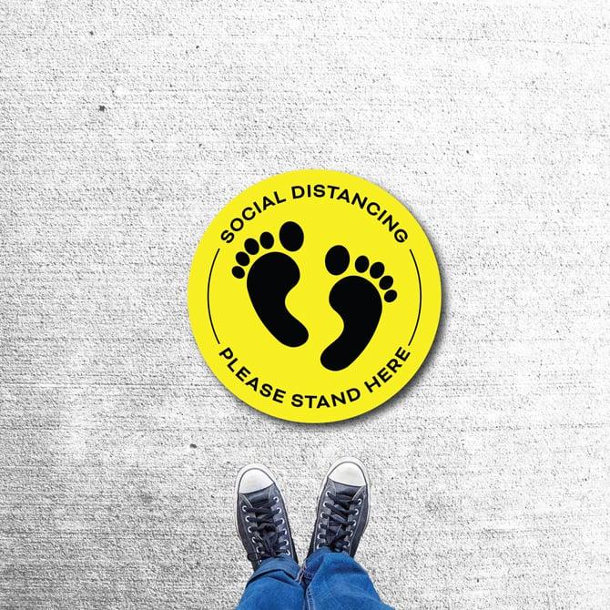 Floor Decals Floor Sticker Printing Please Stand Here Sticker With Feet