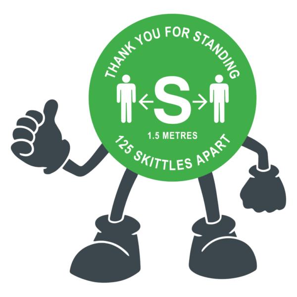 Floor Stickers Thank You For Standing 125 Skittles Apart Green Floor Sticker