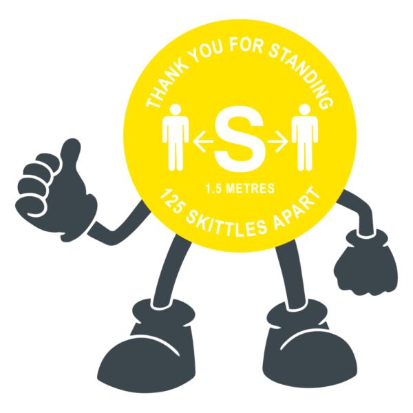 Floor Stickers Thank You For Standing 125 Skittles Apart Yellow Floor Sticker