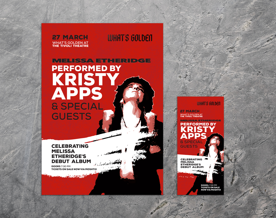 A3 and DL sized poster and flyer foGraphic Design for Kristy Apps Melissa Etheridge Peformance