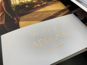 Gold foil presentation folder Lume with single pocket roll fold - front cover