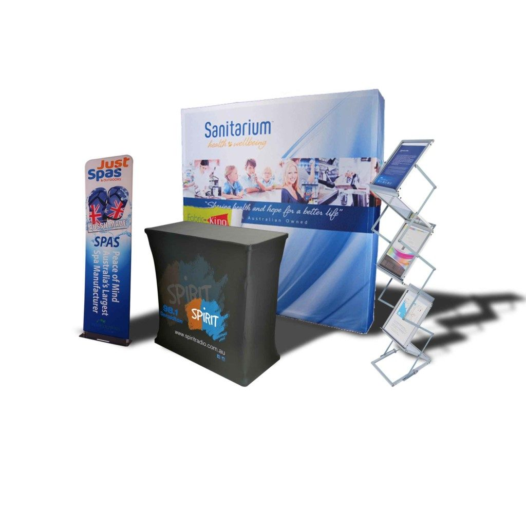 Exhibition Display Kit with back wall, two large banners, counter and brochure holder