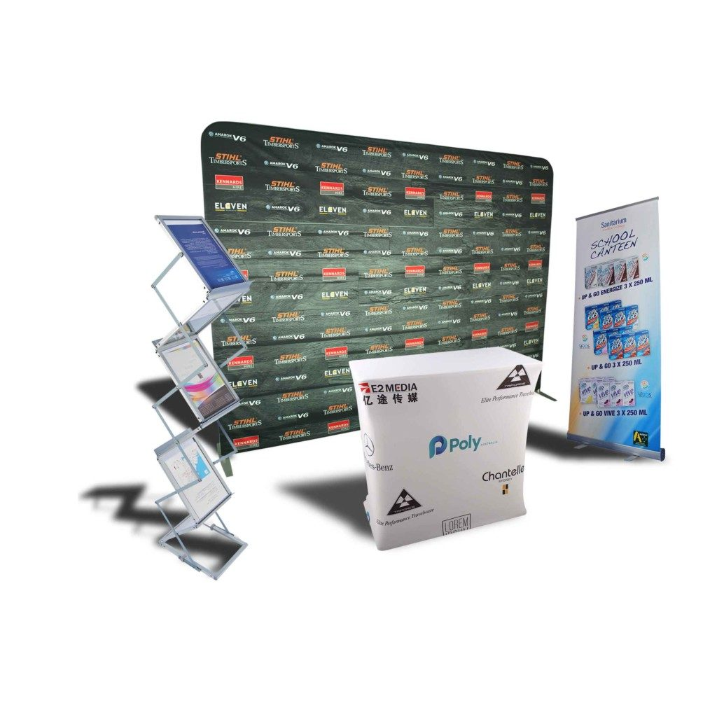 Exhibition Display Kit with back wall, one large banner, one counter and brochure holder.