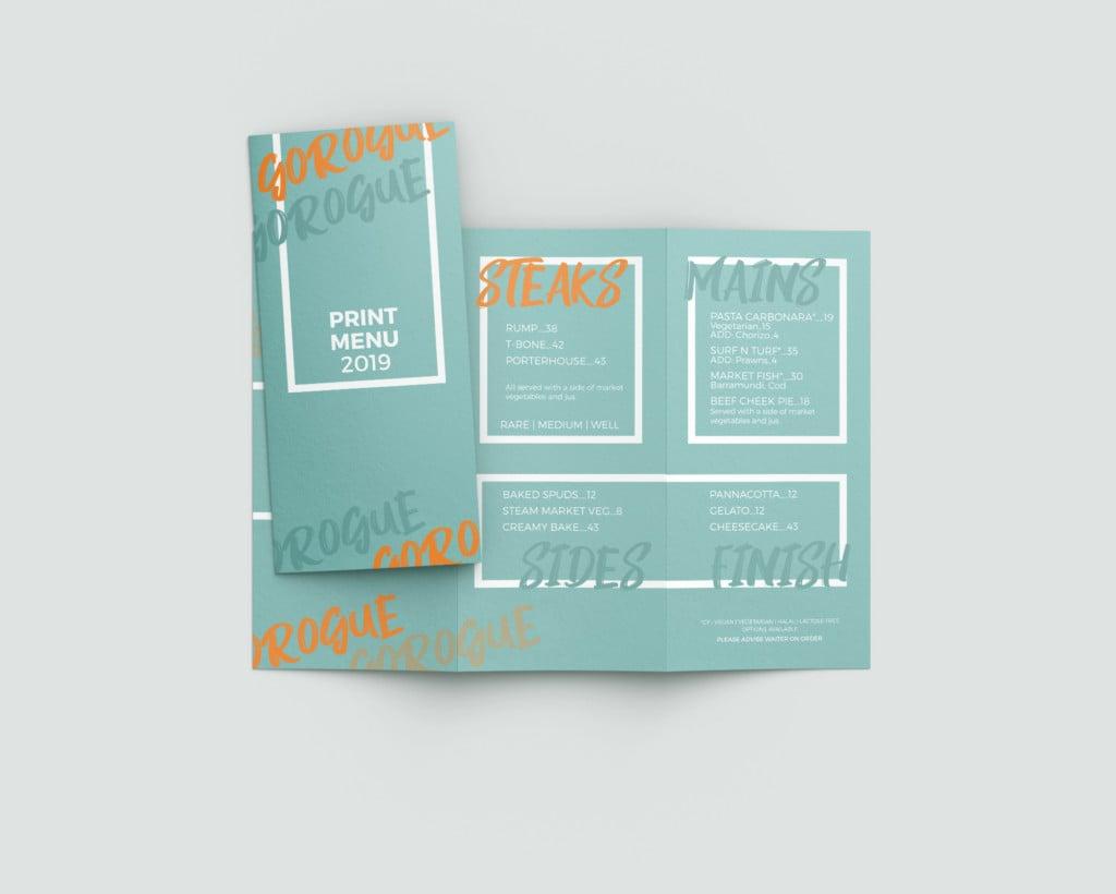 Example of restaurant menu printing