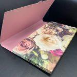 Presentation Folder Die Cut Custom open showing inside print