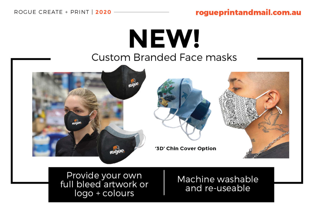 Rogue Face Mask Custom Branded Printed Fabric Mask Face Masks Long Post