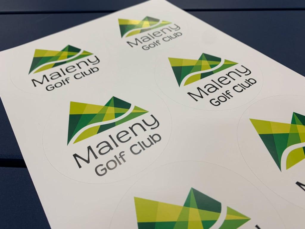 Sheeted Sticker Label Sheet Maleny Golf Club Close Up