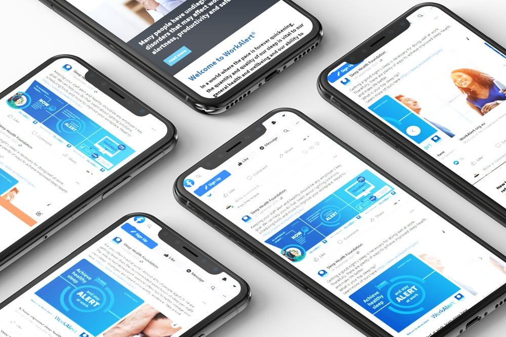 Sleep Health Foundation Work Alert Social Media Campaign Screen Shots Layouts