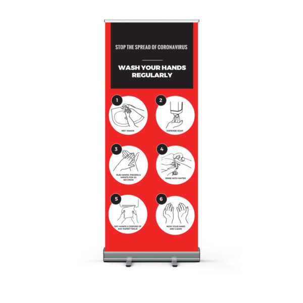 Wash Your Hands To Stop The Spread Pull Up Banner Print Covid 19