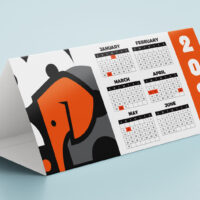 DL sized 3 sided printed Calendar Tent style for desks