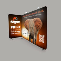 Stretch Fabric Media Wall - assembled into two panels for an exhibition or trade display. Designed by Rogue.
