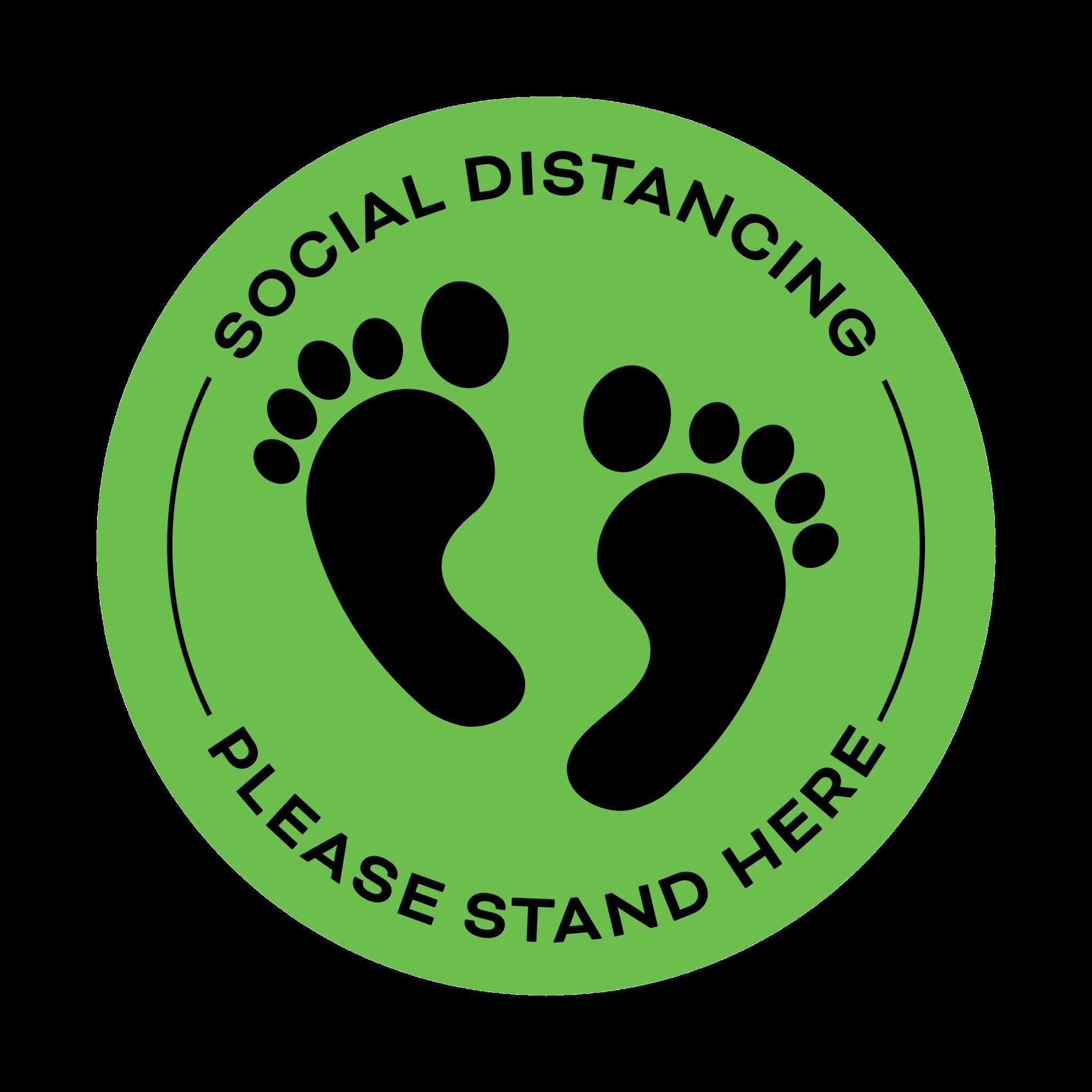 Covid 19 Social Distancing Floor Sticker Green