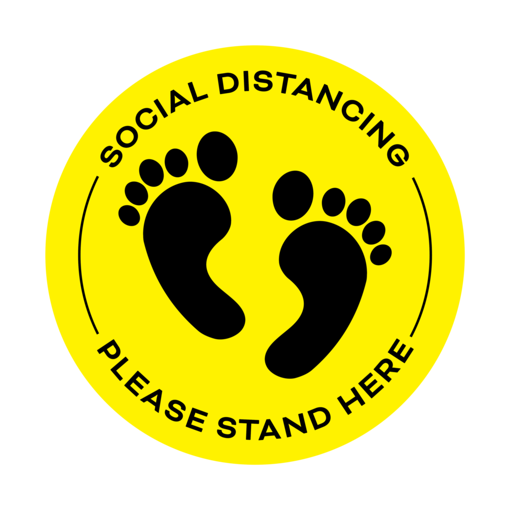 Covid 19 Social Distancing Floor Sticker Yellow